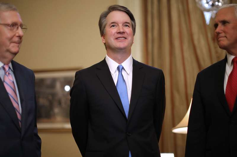 (L-R) Senate Majority Leader Mitch McConnell (R-KY), Judge Brett Kavanaugh and Vice President Mike Pence pose for photographs before a meeting in McConnell's office in the U.S. Capitol July 10, 2018 in Washington, DC. U.S. President Donald Trump nominated Kavanaugh to succeed retiring Supreme Court Associate Justice Anthony Kennedy.