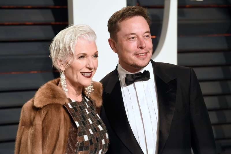 Maye Musk and Elon Musk at the Vanity Fair Oscar Party, Los Angeles, February 26, 2017.