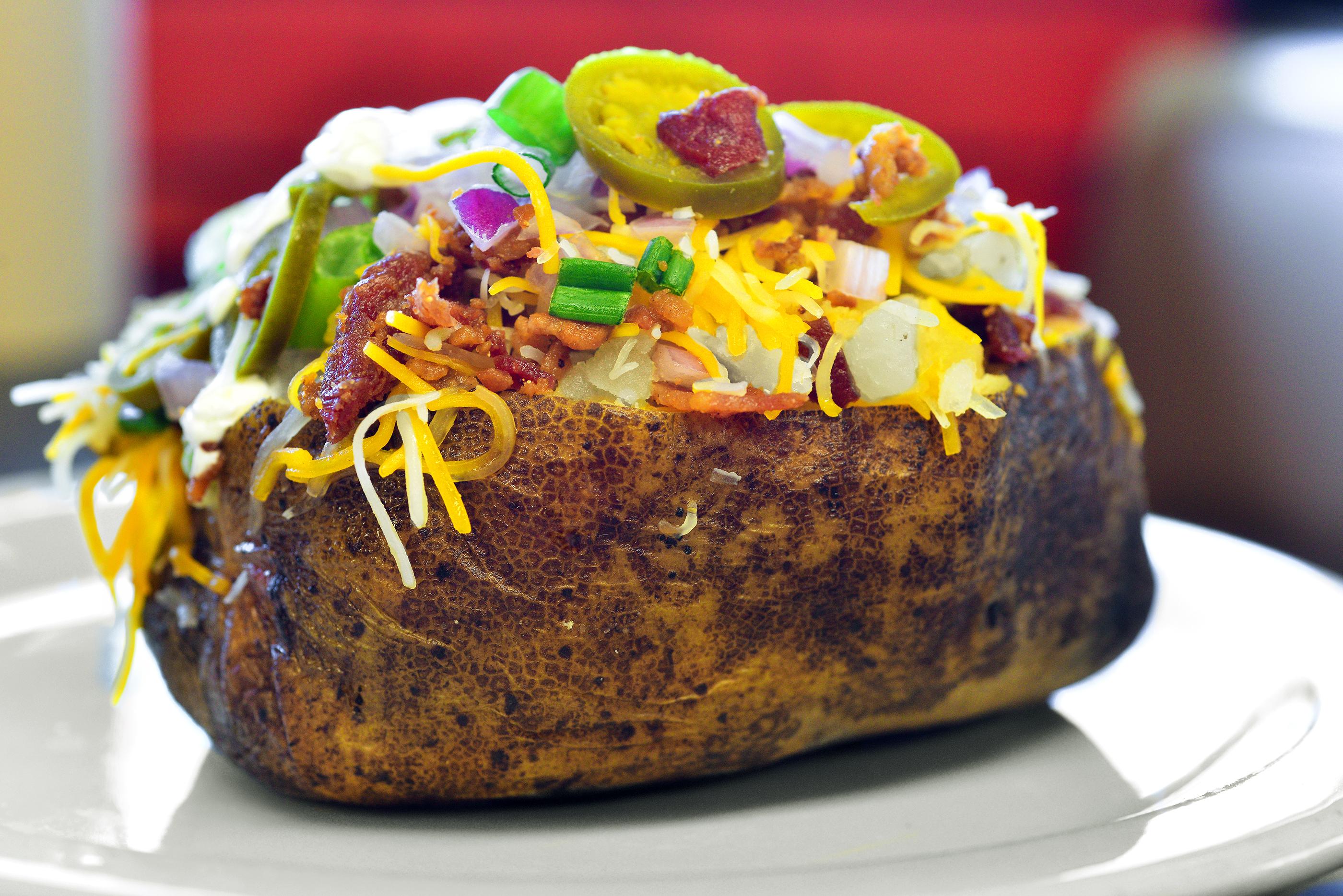 Chopped Brisket Loaded Potato, Cou-yon¹s Cajun Bar-B-Q