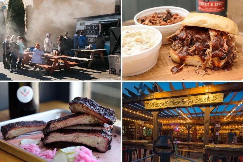 (clockwise from top left) Matt's BBQ, Meat Boss; Follow Yer Nose Smoke Shack; Revenge BBQ;