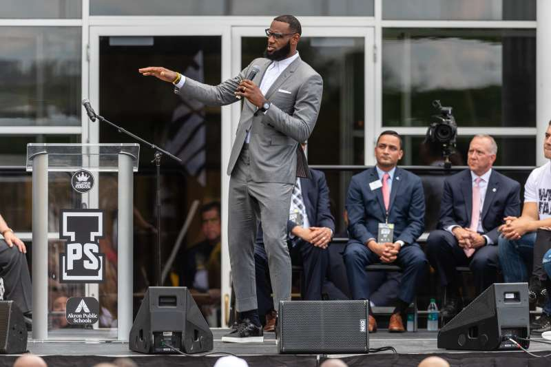 LeBron James addresses the crowd during the opening ceremonies of the I Promise School on July 30, 2018 in Akron, Ohio. The School is a partnership between the LeBron James Family foundation and the Akron Public School and is designed to serve Akron's most challenged students.