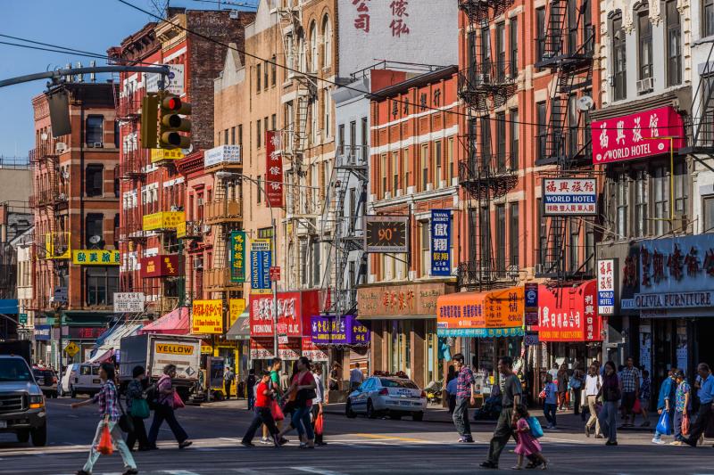 Bowery Street in New York City's Chinatown neighborhood