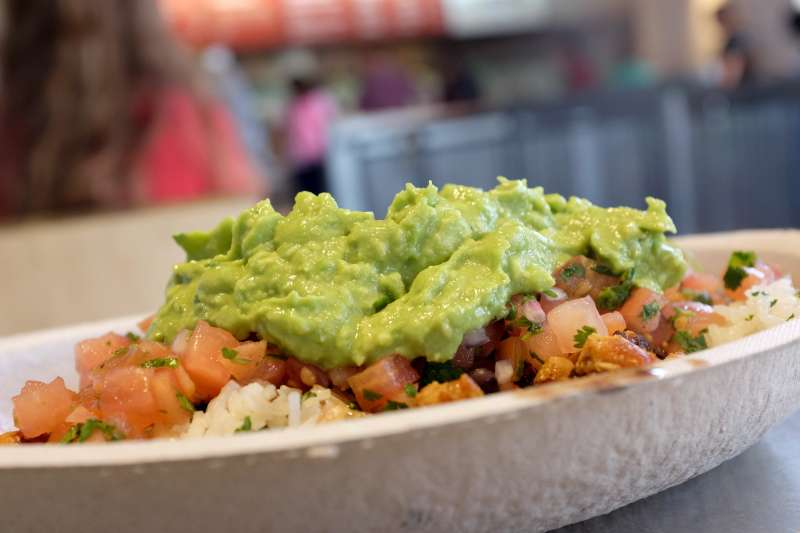 Guacamole sits on a dish at a Chipotle restaurant in Miami, Florida.