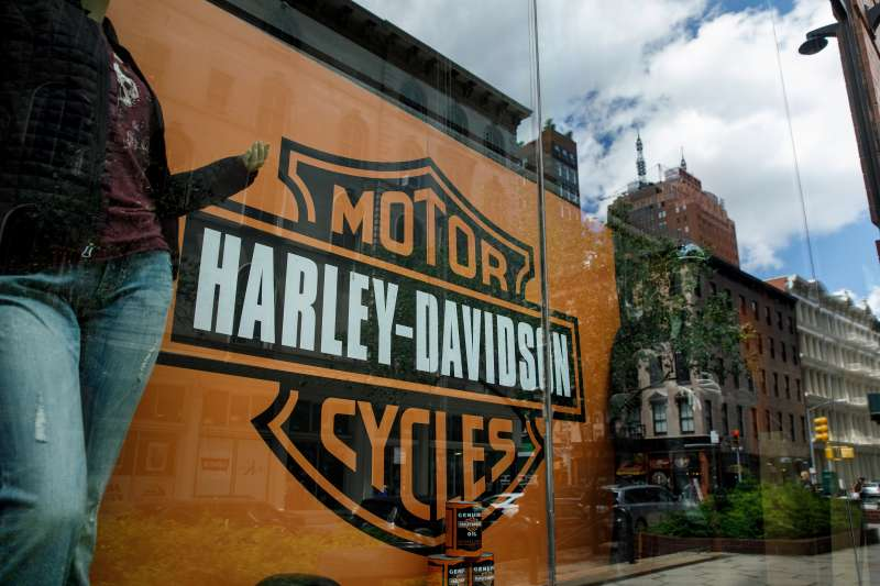 The Harley Davidson logo is displayed in a window of Harley-Davidson of New York City store, June 25, 2018 in New York City.