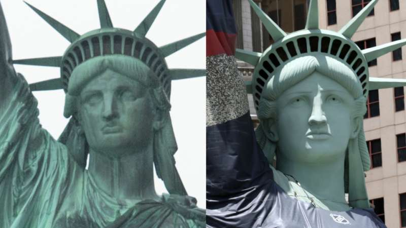 The original Statue of Liberty, left, and the Las Vegas replica.