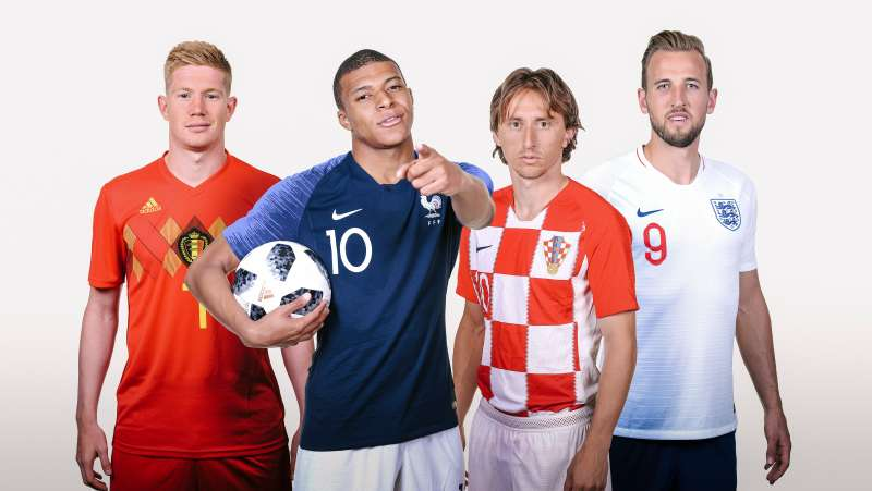 Composite of players from four teams that remain alive in the World Cup 2018: Kevin De Bruyne of Belgium, Kylian Mbappe of France, Luka Modric of Croatia, and Harry Kane of England.