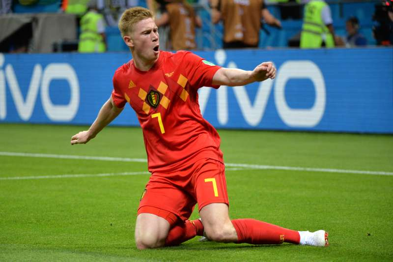 Kevin De Bruyne celebrates after scoring a goal during the 2018 FIFA World Cup match between Brazil and Belgium. The France vs. Belgium semifinal takes places Tuesday, July 10.