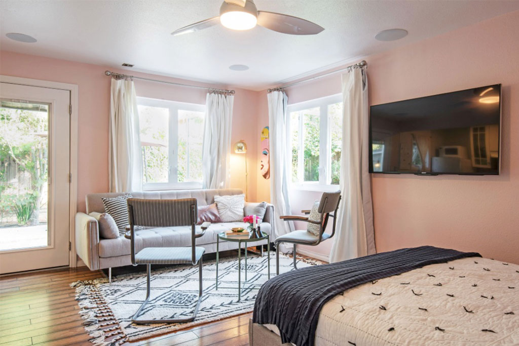 Jennifer and Louis Bankston, both teachers based in the Los Angeles area, rent out their converted guest house on Airbnb to help pay off their mortgage and credit card debit.