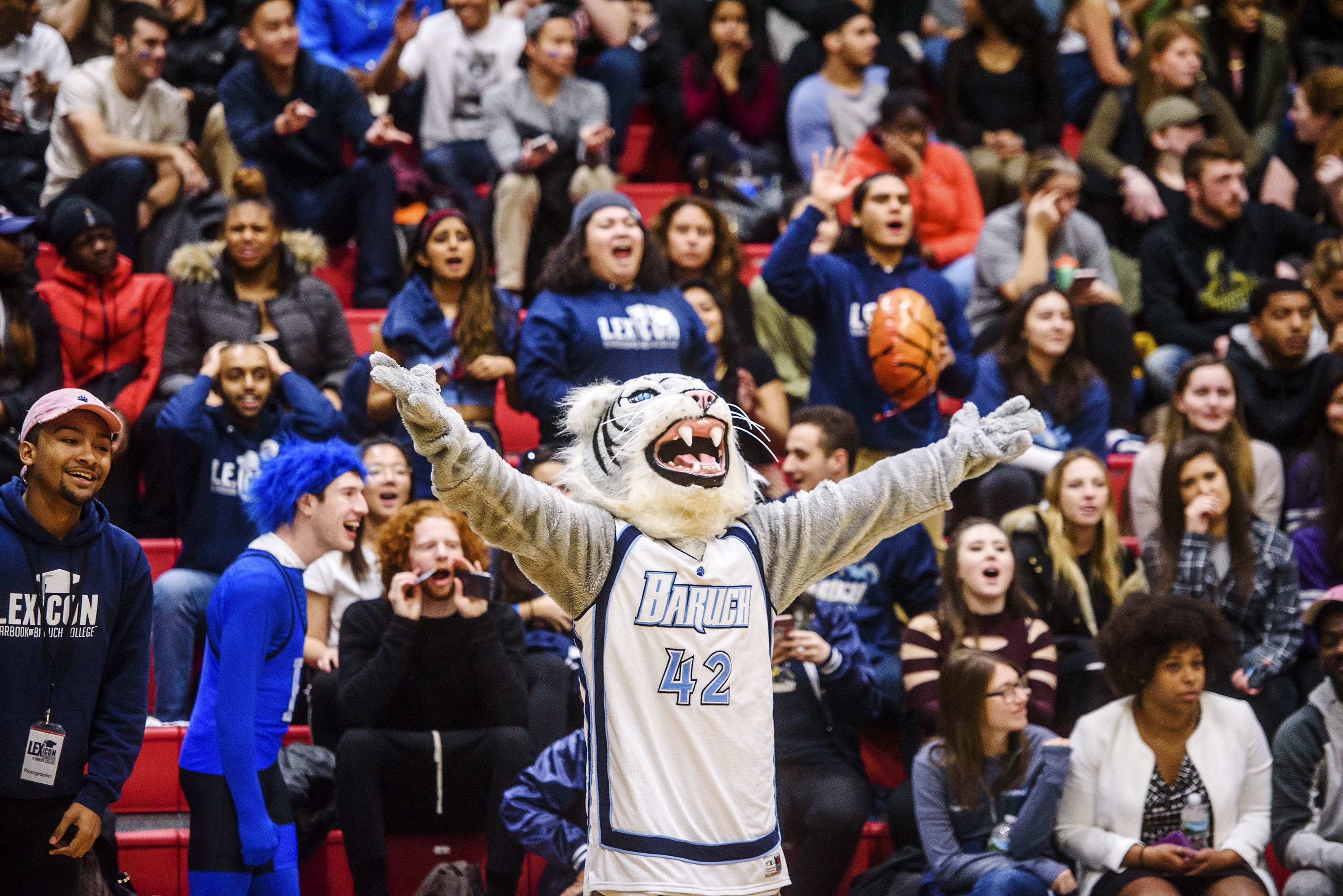 Baruch College's Bearcat cheers on the basketball team.