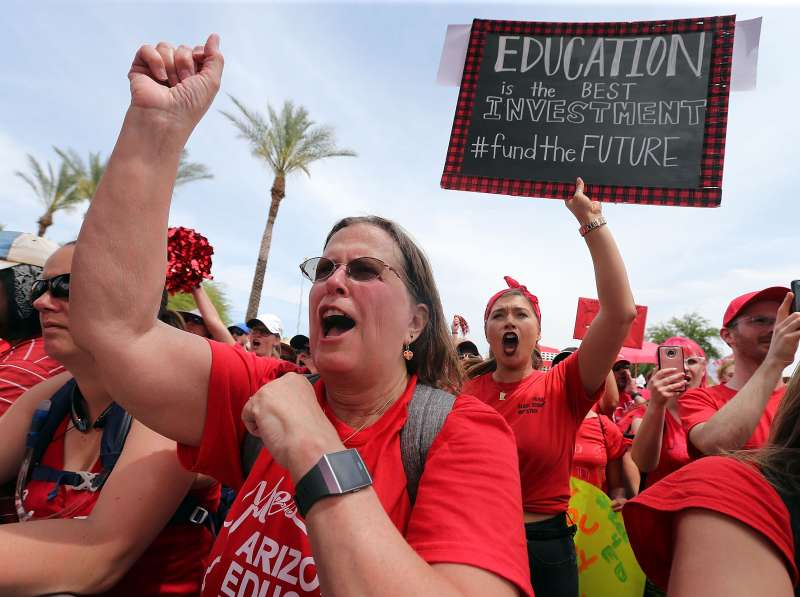 Arizona teachers chant in support of the #REDforED movement