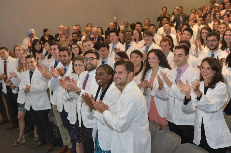 New York University's School of Medicine announced it would cover tuition fees for all current and future students at the annual White Coat Ceremony Thursday, August 16, 2018.