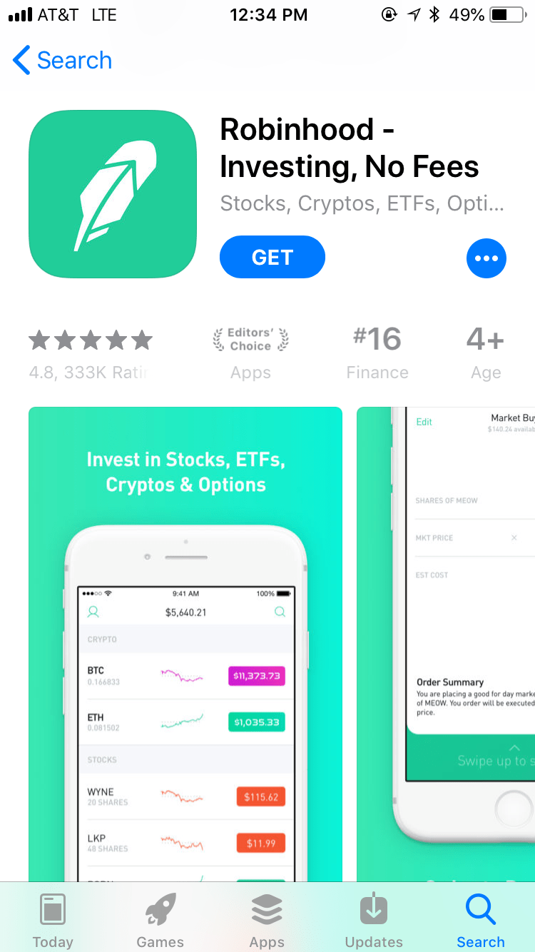 Download screen for Robinhood app in the App Store