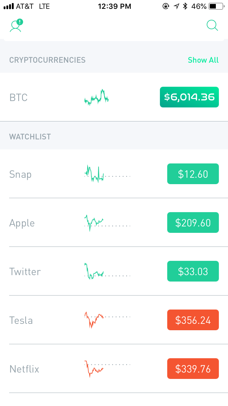 A screenshot of the funds and cryptocurrencies you see after you log into the app.