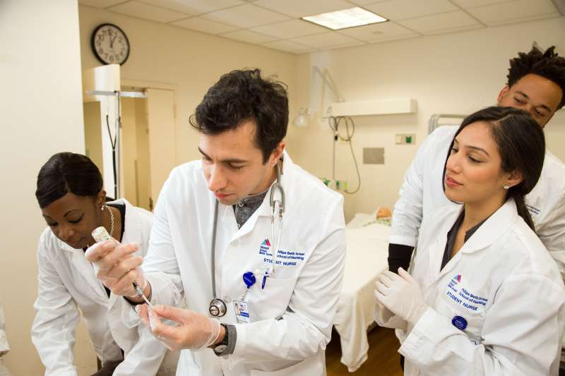 Students at the Phillips School of Nursing at Mount Sinai Beth Israel in class at the Hillman Nursing Skills Lab in the school.