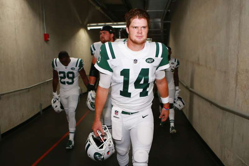 Sam Darnold #14 of the New York Jets walks the tunnel prior to the game against the Detroit Lions at Ford Field on September 10, 2018.