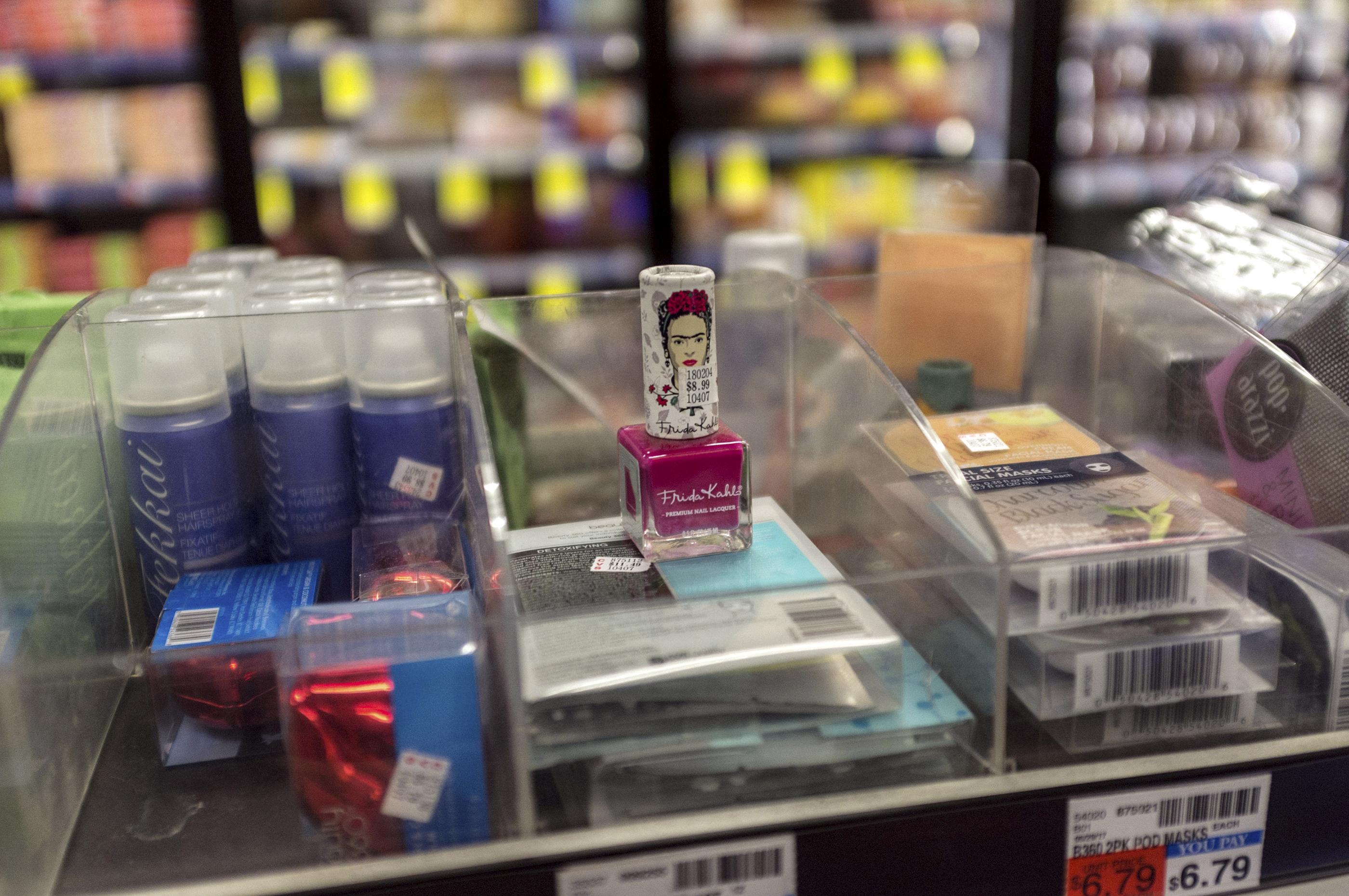 Frida Kahlo branded nail varnish for sale in a CVS pharmacy in Manhattan, New York City.