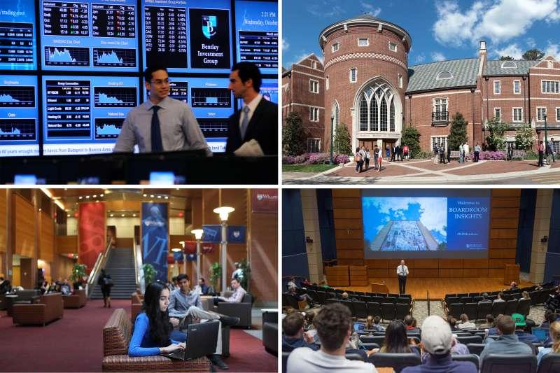 (clockwise from top left) Bentley University; University of Richmond; University of Notre Dame; University of Pennsylvania