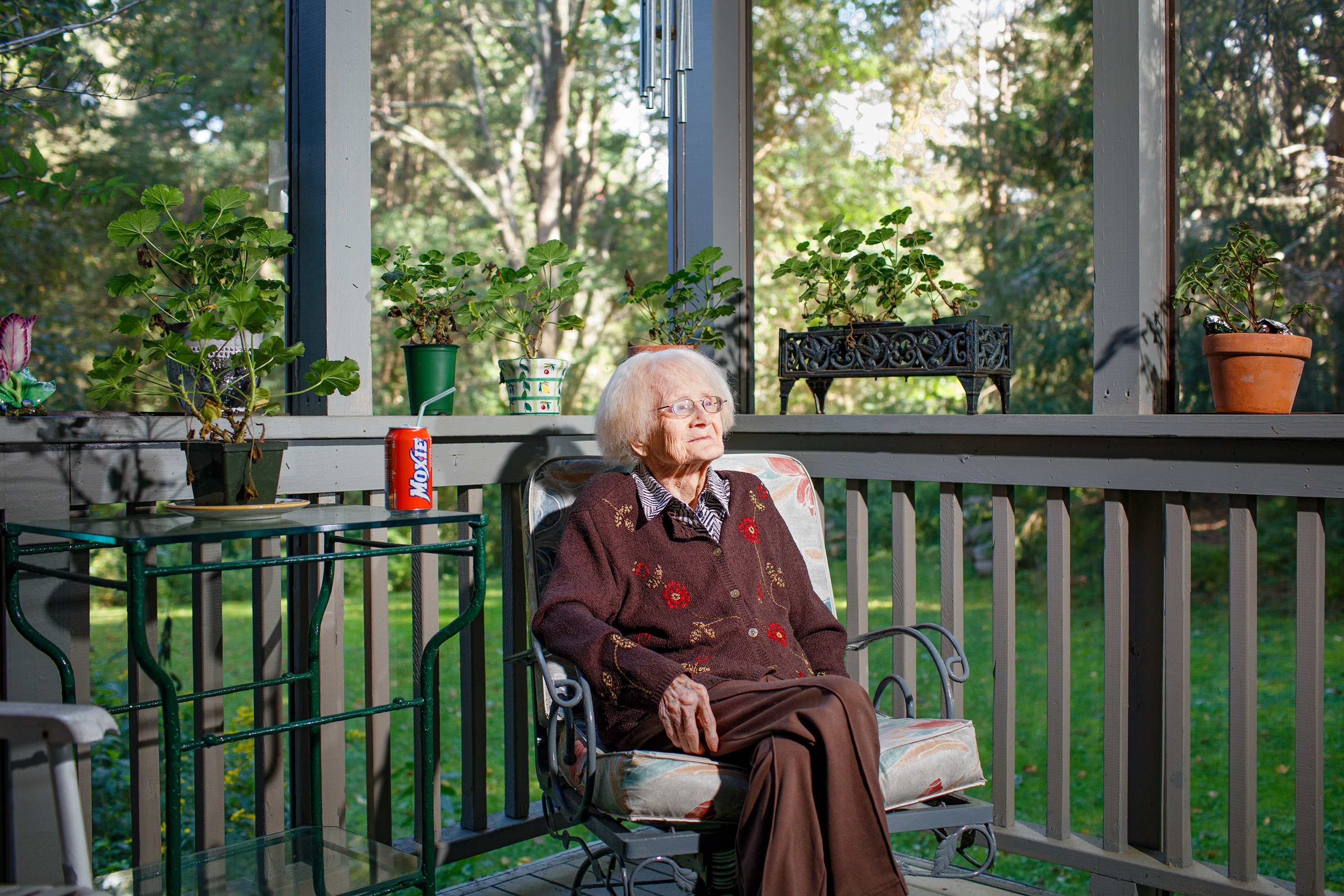 Patricia Lyons Harrington, age 105, on her porch at home in Essex, Mass.