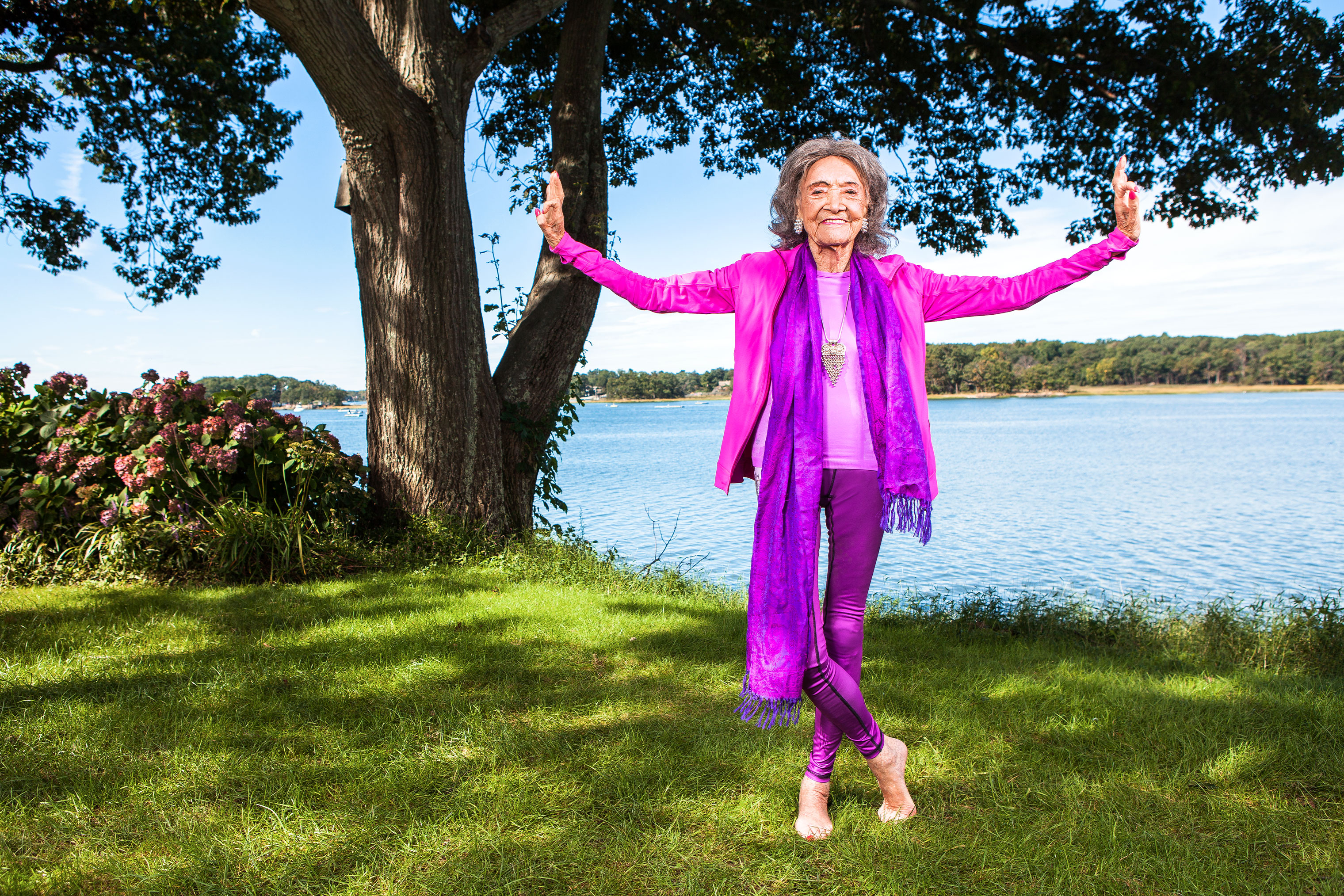 Tao Porchon-Lynch at Wainwright House, a yoga, health, and healing center in Rye, N.Y.