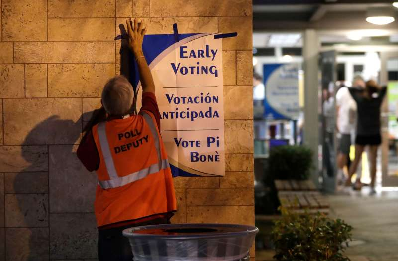A poll worker hangs a sign at a polling station on the first day of early voting in Miami-Dade County, in Miami, October 22, 2018.
