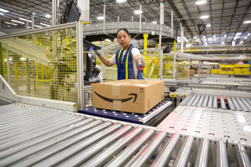 1.25 million square foot Amazon shipping center in Schertz, Texas. The fulfillment facility includes a proprietary  robo-stow  robotic arm system and employs nearly 500 full-time employees who use the advance tracking system to package orders and place into large tractor trailers for delivery.
