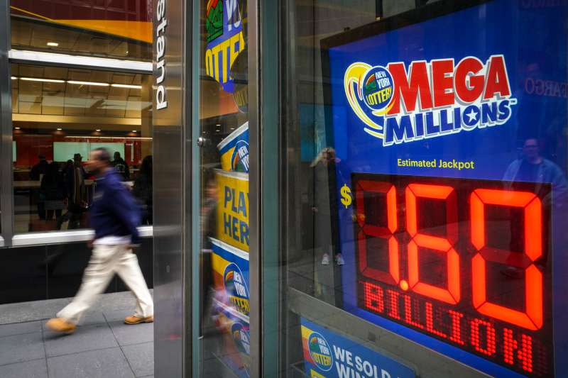 A newsstand with advertisements for the $1.6 billion Mega Millions lottery, October 23, 2018 in New York City.