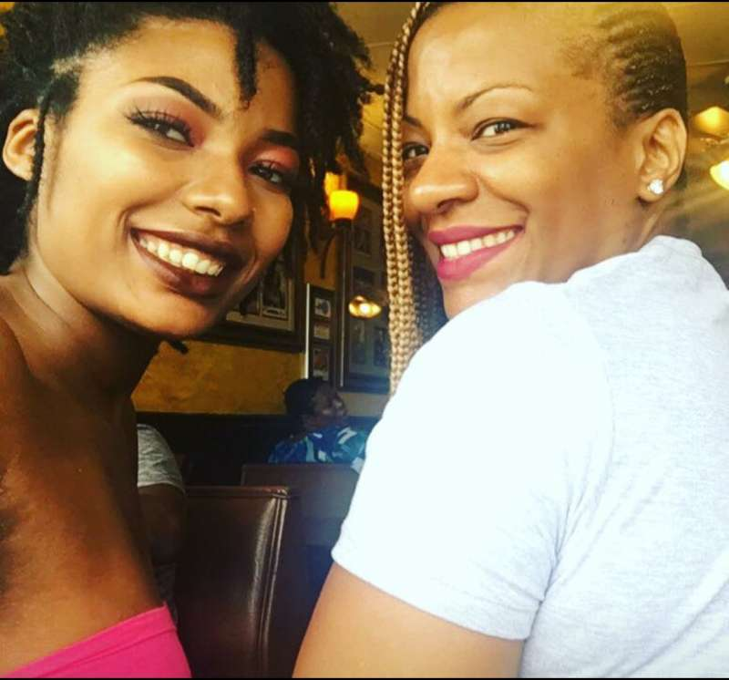 Takiia Anderson (right) with her daughter Taje Perkins (left) on her 20th birthday in August 2017.
