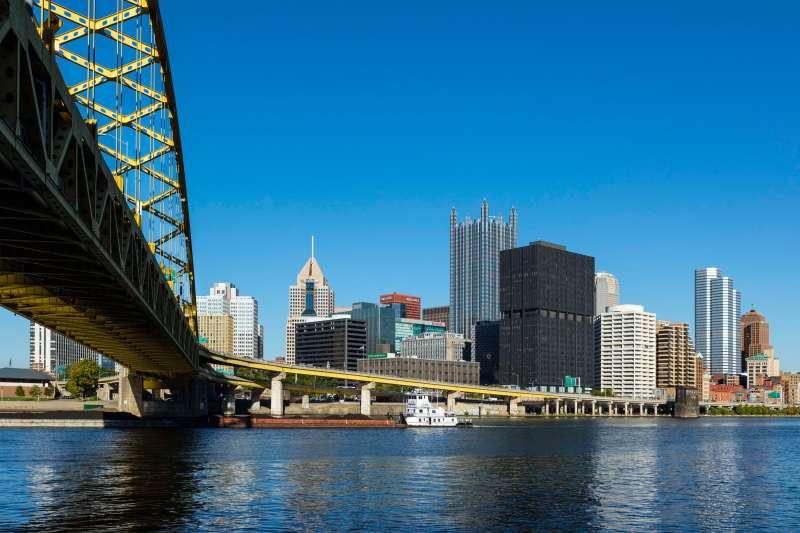 City skyline and Fort Pitt Bridge in Pittsburgh, Pennsylvania.