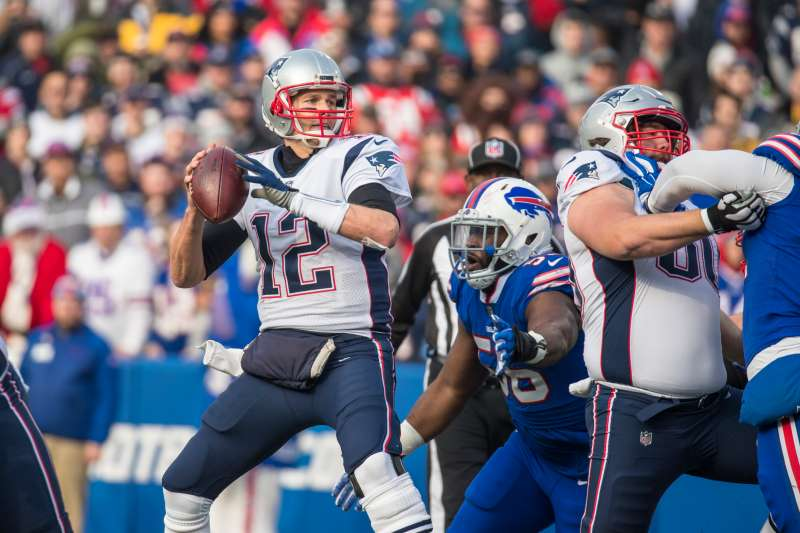 Tom Brady #12 of the New England Patriots during the first quarter against the Buffalo Bills at New Era Field on December 3, 2017 in Orchard Park, New York. New England defeats Buffalo 23-3.