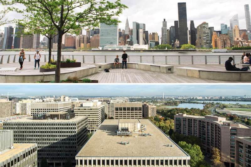 (top) View of Manhattan from Gantry Park in Long Island City; (bottom) View of Washington, D.C. from Crystal City, Virginia