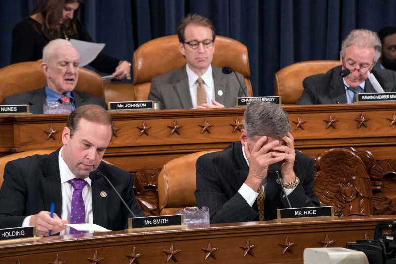 The House Ways and Means Committee continues its debate over the Republican tax reform package, on Capitol Hill in Washington. From left on bottom row: Rep. Jason T. Smith, R-Mo., and Rep. Tom Rice, R-S.C., and from left on top row are: Rep. Sam Johnson, R-Texas, Rep. Peter Roskam, R-Ill., and Rep. Richard Neal, D-Mass., the ranking member, Washington, November 8, 2017.