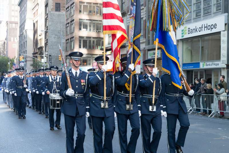 Atmosphere during New York 99th annual Veterans Day Parade on 5th Avenue, November 11, 2017.