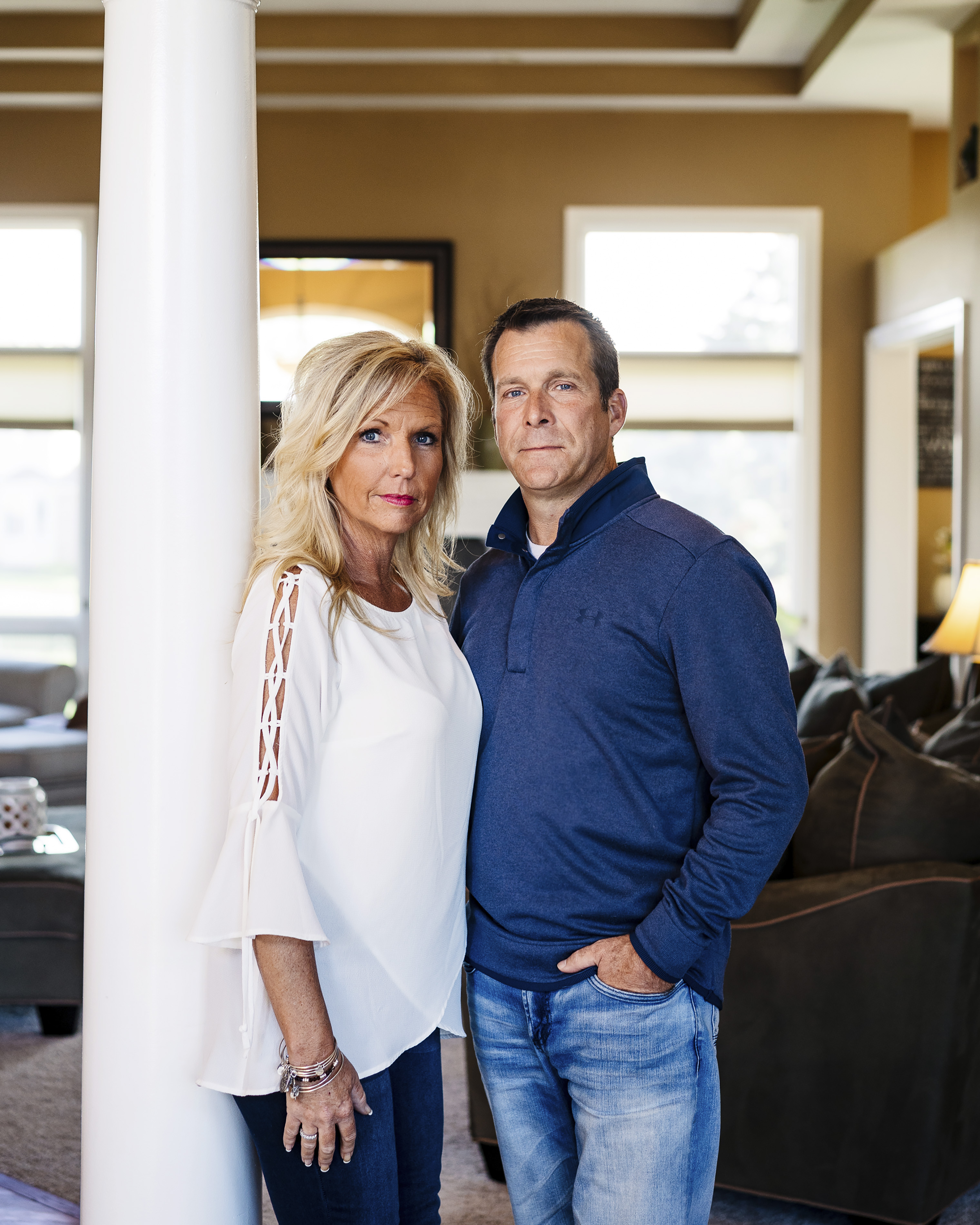 Katie Donovan and her husband, John, at their home in Macomb, Mich.