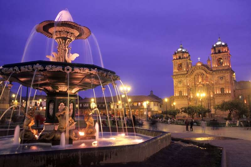 The famous Cathedral Basilica in the town square; Cusco, Peru.