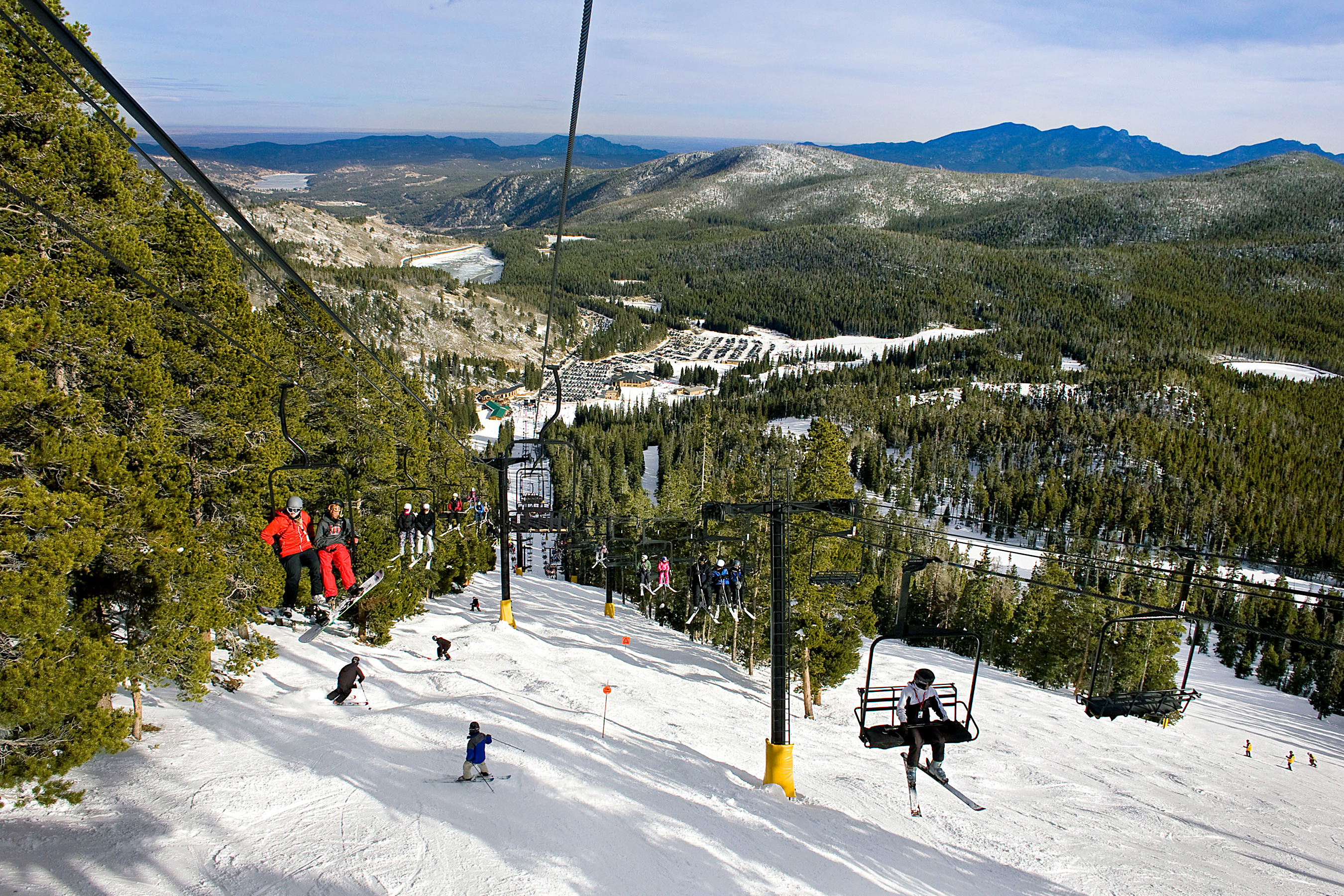 Skiers ride the lift at Eldora Mountain Resort near Colorado Springs.