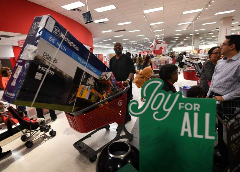 Shoppers arriving at Target on Thanksgiving Day to scoop up Black Friday deals.