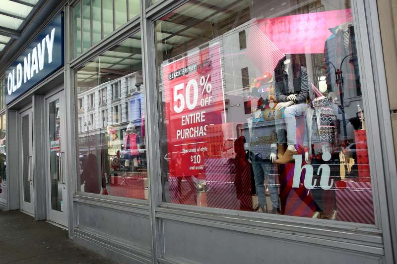 Stores like Old Navy have 40% to 50% off everything on Black Friday, for in-store and online shoppers alike.