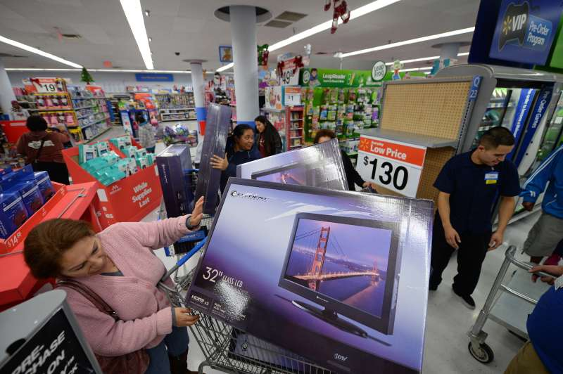 Shoppers wait in line at Walmart on Black Friday.