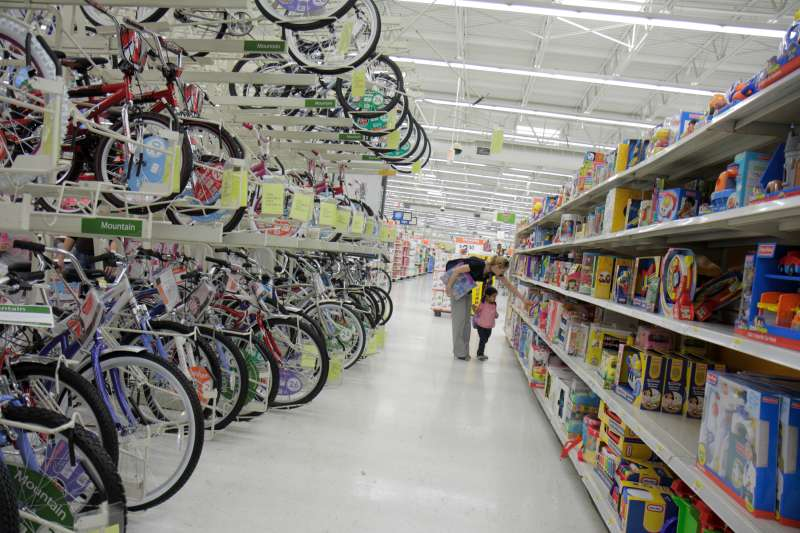 Bicycles and toys for sale at Walmart.