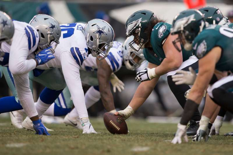 The Dallas Cowboys lineup against the Philadelphia Eagles at Lincoln Financial Field on December 31, 2017 in Philadelphia.
