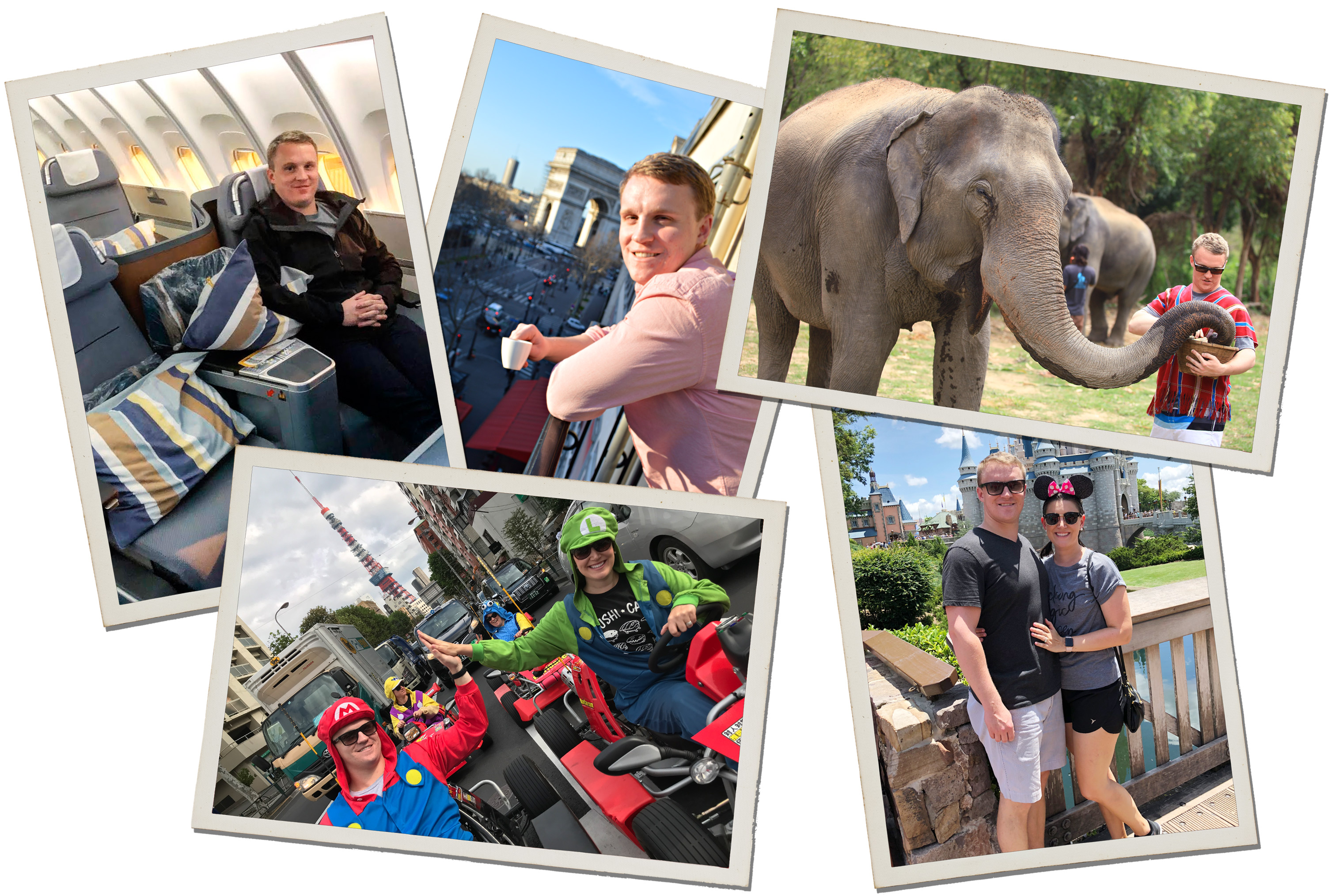 (Clockwise from top left) Bryce Conway, who founded the churning community 10xTravel, flying business-class on Lufthansa to Rome.; Conway's hotel room in Paris featured a view of the Arc de Triomphe; Conway feeding an elephant in Thailand; Conway and his wife visiting Cinderella Castle at Walt Disney World in Florida with his wife; Conway driving Go Karts (Dressed as Mario) in Tokyo.