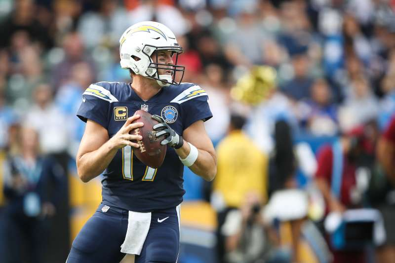 Quarterback Philip Rivers of the Los Angeles Chargers looks to pass against the Cincinnati Bengals on December 9, 2018 in Carson, California.