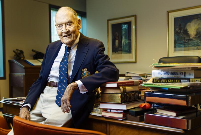 John C. Bogle, 86,  in his office on the Vanguard campus