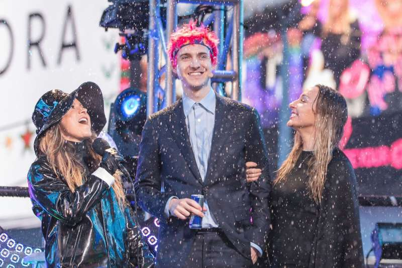 Allison Hagendorf, left and Tyler 'Ninja' Blevins on stage at the New Year's Eve celebration in Times Square, in New York, December 31, 2018.