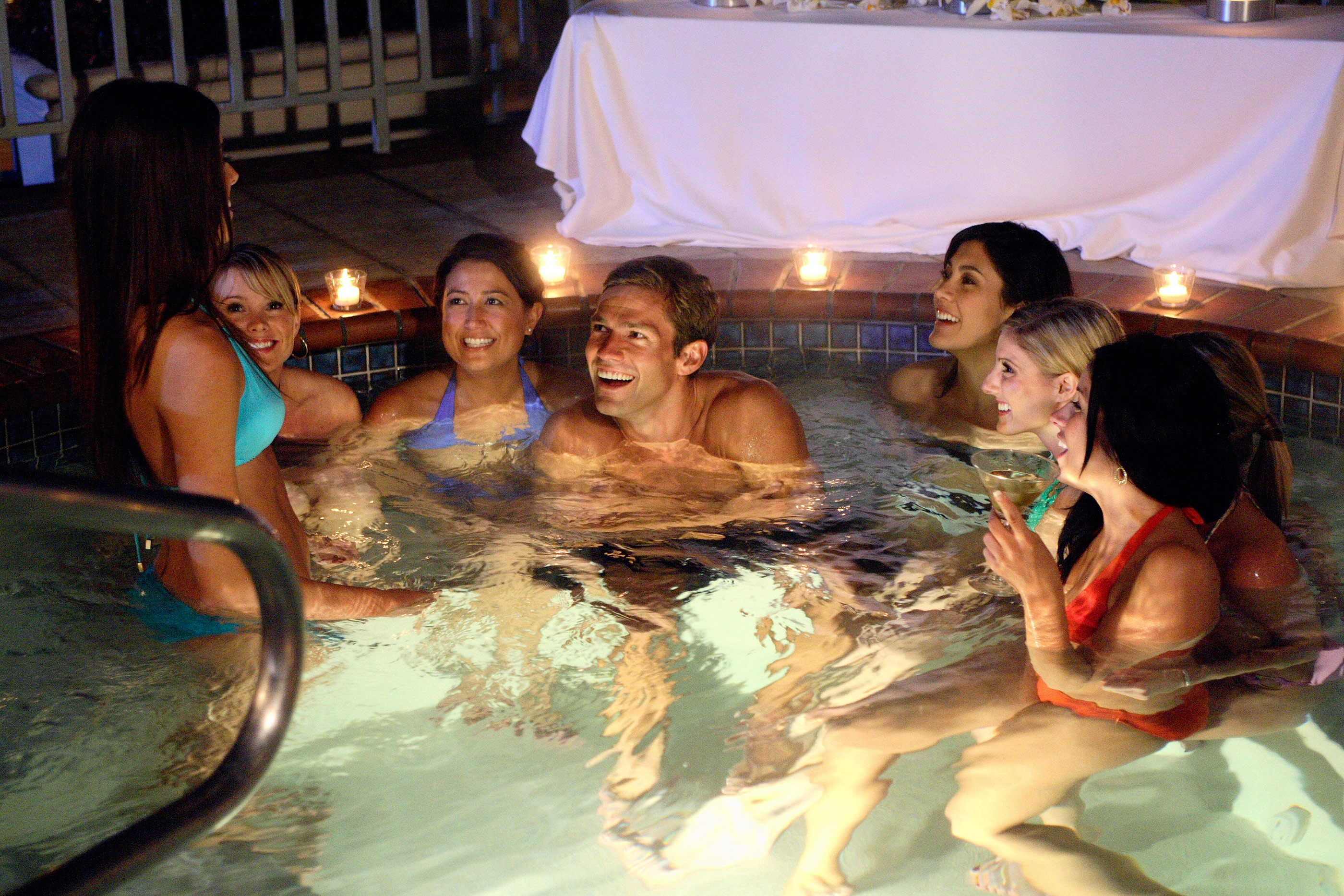 """THE BACHELOR: OFFICER AND A GENTLEMAN - """"Episode 1002"""" - As 15 bachelorettes settle into a mansion in the Hollywood Hills, the fairy tale begins. On his first group date, Andy and seven striking ladies take the Sunset Strip by storm with an evening of cocktails and bull riding that ends in the hot tub. Bevin can't handle the competition, becoming irritated, and seethes over perceived slights. Then one lucky bachelorette is singled out to spend a romantic evening aboard the Bachelor's private yacht, on """"The Bachelor: Officer and a Gentleman,"""" MONDAY, APRIL 9 (9:30-11:00 p.m., ET), on the ABC Television Network."""
