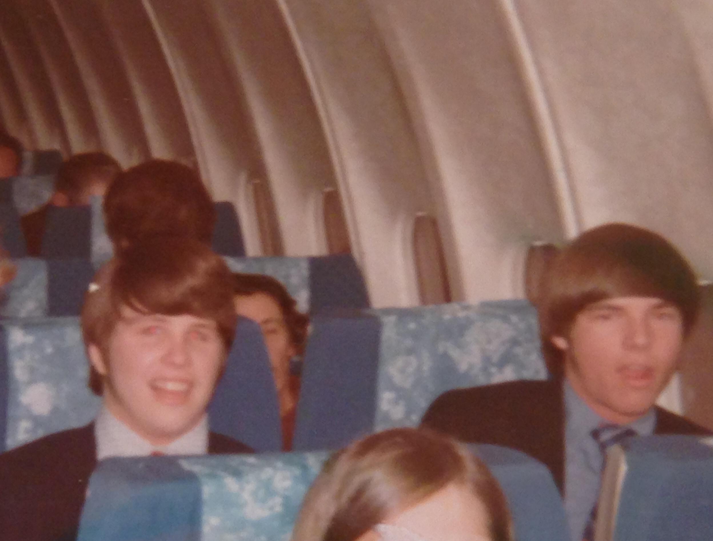 Tom Stuker (right) on his first United Flight