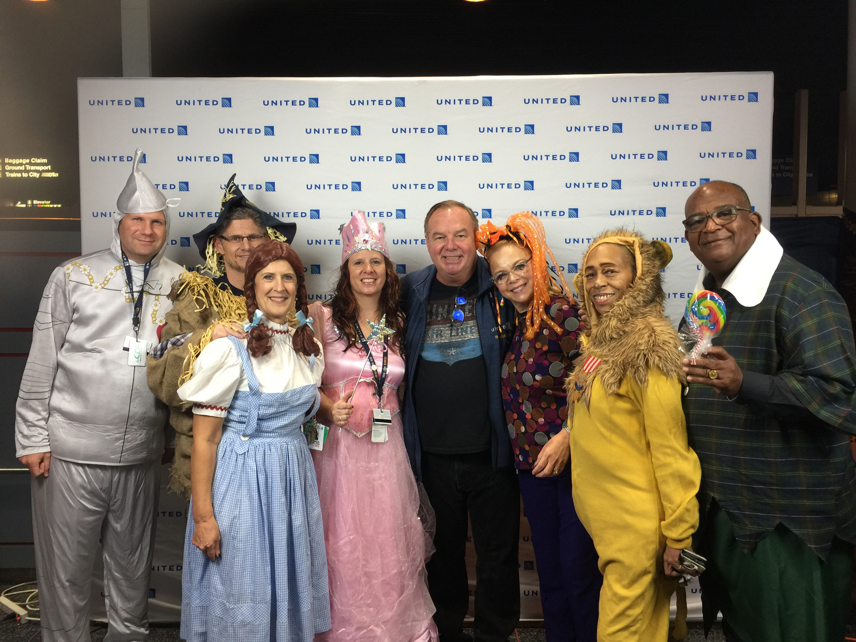 Tom Stuker with United employees at ORD that dressed up for Halloween in 2018.