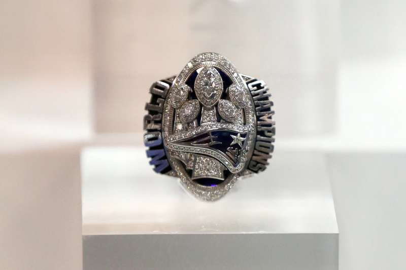 The New England Patriots Super Bowl LI ring is seen at the Super Bowl Rings exhibit at the 2018 NFL Scouting Combine Experience, in Indianapolis             NFL Combine Football, Indianapolis, March 1, 2018.