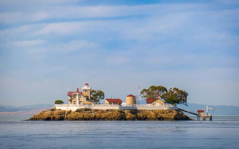 East Brother Light Station, is a restored California Victorian Lighthouse perched atop East Brother Island in the strait that separates San Francisco and San Pablo Bays, near Point Richmond, CA.