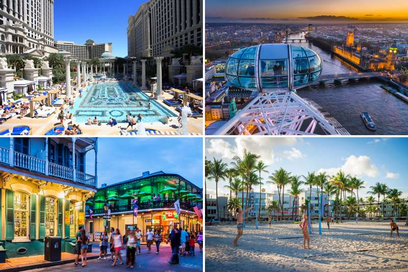 (clockwise from top left) Las Vegas, London, Miami Beach, New Orleans